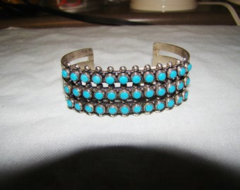 1-A Native American Stamped Sterling & Turquoise Bracelet