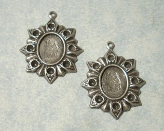 2 - Antique Silver Floral Settings, 8x10mm Cabochon Settings, Earring Drops, Earring Components
