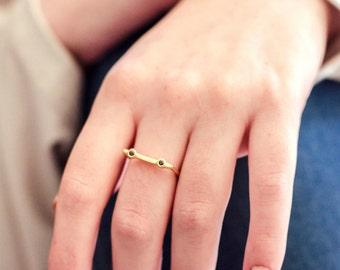 Gold plated Silver Stacking Ring, Garnet Stacking Ring, Gemstone Stacking Ring, Duo Ring Rhodolite Garnet