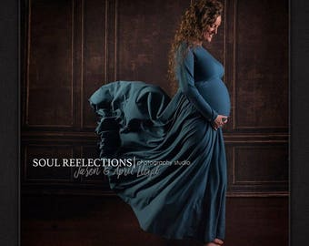 Maternity Maxi Photography Dress or Casual Wedding(Non PG Available) Natural Fiber Jersey w/Opt.Sash-Choice of Color -XXS thru Large