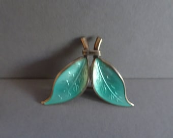 David Andersen Silver gilt and enamel guilloche leaf brooch. Norway. 1960s