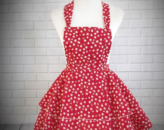 READY TO SHIP //Red ruffled retro pinup apron with daisies // Great gift for bridal shower, hostess gift or just because!