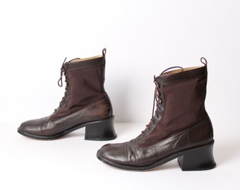 size 11 PLATFORM brown mesh leather 80s 90s COMBAT lace up ankle boot