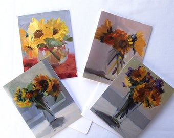 Sunflowers Group Mixed Set Notecards, Set 8 Cards with Envelopes