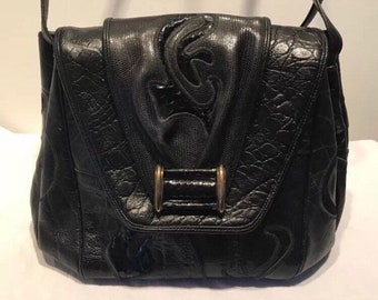 New in Bag! Authentic 1980s Sharif New York Couture Crossbody Handbag. Adjustable Strap, Mosaic Leather and Python, without tags