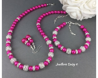 Bridesmaid Jewelry Set Hot Pink Necklace Fuchsia Necklace Bridesmaid Jewelry Maid of Honor Gift Wedding Fuchsia Jewelry Idea Gift for Her