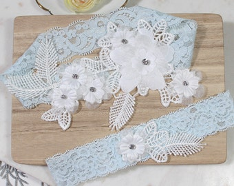 Lace garter set, wedding garter set, bridal garter set, garter set, floral lace garter, wedding garter, blue garter set