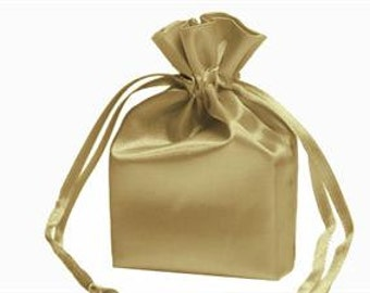 "Champagne Gold Favor Bags Satin Wedding Shiney Elegant Size 4 x 6"" Double Drawsting Sparkling Gold Favor bag"
