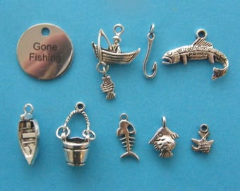 The Gone Fishing Collection - 9 different antique silver tone charms