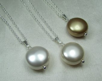 Pearl Bridesmaid Jewelry Set of 4 Bridesmaid Necklace Coin Pearl Necklace Bridesmaid Gift Bridal Party Gifts Pearl Wedding Jewelry
