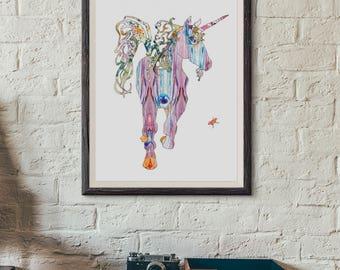 Unicorn- Art Print - 5x7, 8x10, 11x14, or 13x19