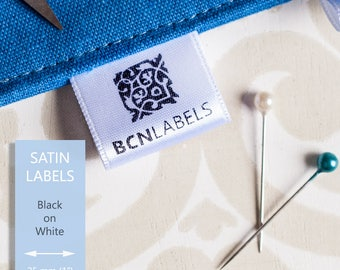 50 pcs Custom Soft White Satin Fabric Labels - Printed Black on White / Sew on / Care Labels