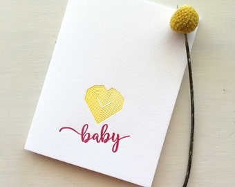 Newborn Baby Card, New Baby Girl Card, Baby Gift, Baby Girl, Baby Card, Letterpress New Baby Card, Baby Gift For Girl, Newborn Card Girl