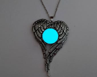 Angel Wing Necklace, Glow In The Dark Necklace, Interchangeable Snap Necklace, Memorial gift, Sympathy Gift, Angel Wing Jewelry, FREE BUTTON