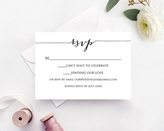 Astounding image within printable rsvp card