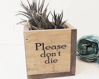 succulent planter, wooden plant pot, dorm decor, fun gift, new home present, square planter, please don't die, indoor gardening, kitchen pot
