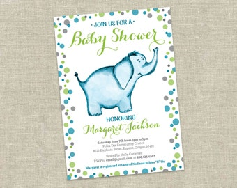 Elephant Baby Shower Invitation Printable