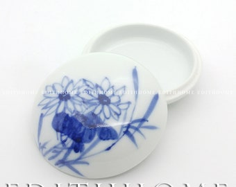 Chinese Hand Painting [Chrysanthemum] Blue & White Seal Paste Box Container, 9x4.3 cm