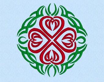 Celtic Hearts Tribal Tattoo Machine Embroidery Design File