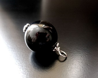 Black Onyx Pendant, Black Onyx Round Bead, Sterling Silver, Black Onyx Jewelry, Black Onyx Charm, Black Onyx Necklace, 14mm Pendant