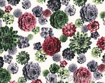 Hoffman - Agave - Tossed Succulents - Blooms - Fabric by the Yard P7569-562