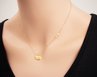 Small Gold Sideways Cross with 24K Gold Letter Initial Necklace - Two ( 2 ) Hand Stamped Jewelry Necklace, Personalized Necklace, Name Charm