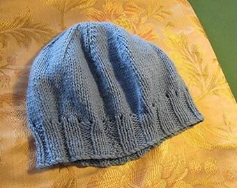 Hand knitted beanie hat child's boys girls kids blue handmade vintage 80s winter.