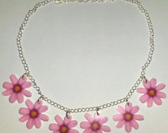 Pink Flower Daisy Chain Summer Festival Hippie Necklace
