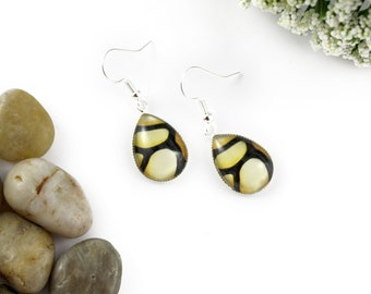 Light Yellow Earrings - Teardrop Glass Earrings - Stained-Glass Earrings - Silver Earrings - Art Nouveau Art - Cream Earrings - Mosaic