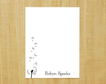 Stationery set of 8 PERSONALIZED Dandelion Note Cards