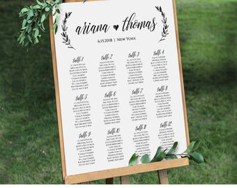 Wedding Seating Chart Template Seating Plan Table Card - Wedding invitation templates: seating chart template wedding