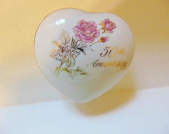 Vintage Romance Rose Collection 50th Anniversary Trinket Dish