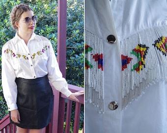 SOUTHWEST 1980's 90's Vintage Bright White Western Shirt w/ Long Sleeves // Seed Beaded Fringe + Silver STUDS // size Medium Large