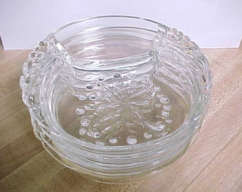 Mid Century Hazel Atlas Parti-Ade Coasters with Ashtray in Clear Glass, 1950s Winged Handles and Beaded Design Party Serving Snack Trays
