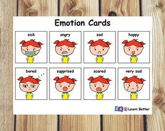 Emotion and Solution Cards for Girls/ Visual Aid/ Communication Aid/ Autism PECS/ pre-school learning/ PECS Printable