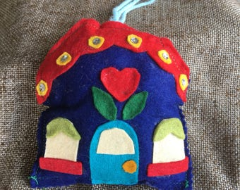 Vintage Folk Art Stuffed Felt Blue Cottage,House, Home Sweet Home Handsewn Handcrafted Appliqued Sequined Ornament