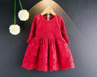 Red Lace Dress, Girls Lace Dress, Kids Dress, Kids Clothing, Apparel, Kids Party Dress, Lace Dress, Red Dress, Party Dress, Formal Dress