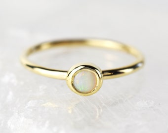 Opal Gold Dainty Ring | October Birthstone Ring | Opal Delicate Ring | Tiny Opal Ring | Gold Opal Thin Ring | November Birthstone Opal Ring