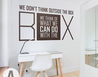 Outside The Box Motivation Quote Vinyl Wall Art Decal/ Matte Vinyl Word Art Removable Mural/ Inspirational Typography Art Contemporary  sc 1 st  Etsy & Removable wall art | Etsy