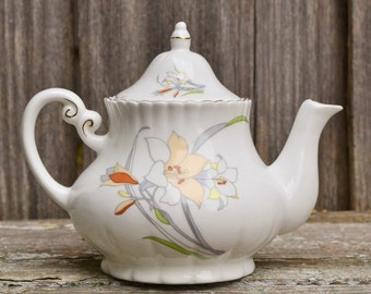 Vintage Cream Ceramic Hand Painted Floral Teapot