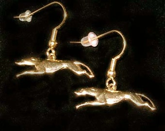 SueBero Full Flight Greyhound or Whippet Dog Charm Fishhook Earrings, Gold Plated