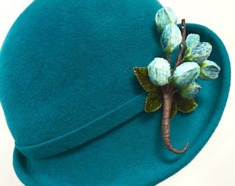 Turquoise Fur Felt Women's Cloche Hat Gatsby Hat Downton Abby Ha, Vintage Inspired hHat