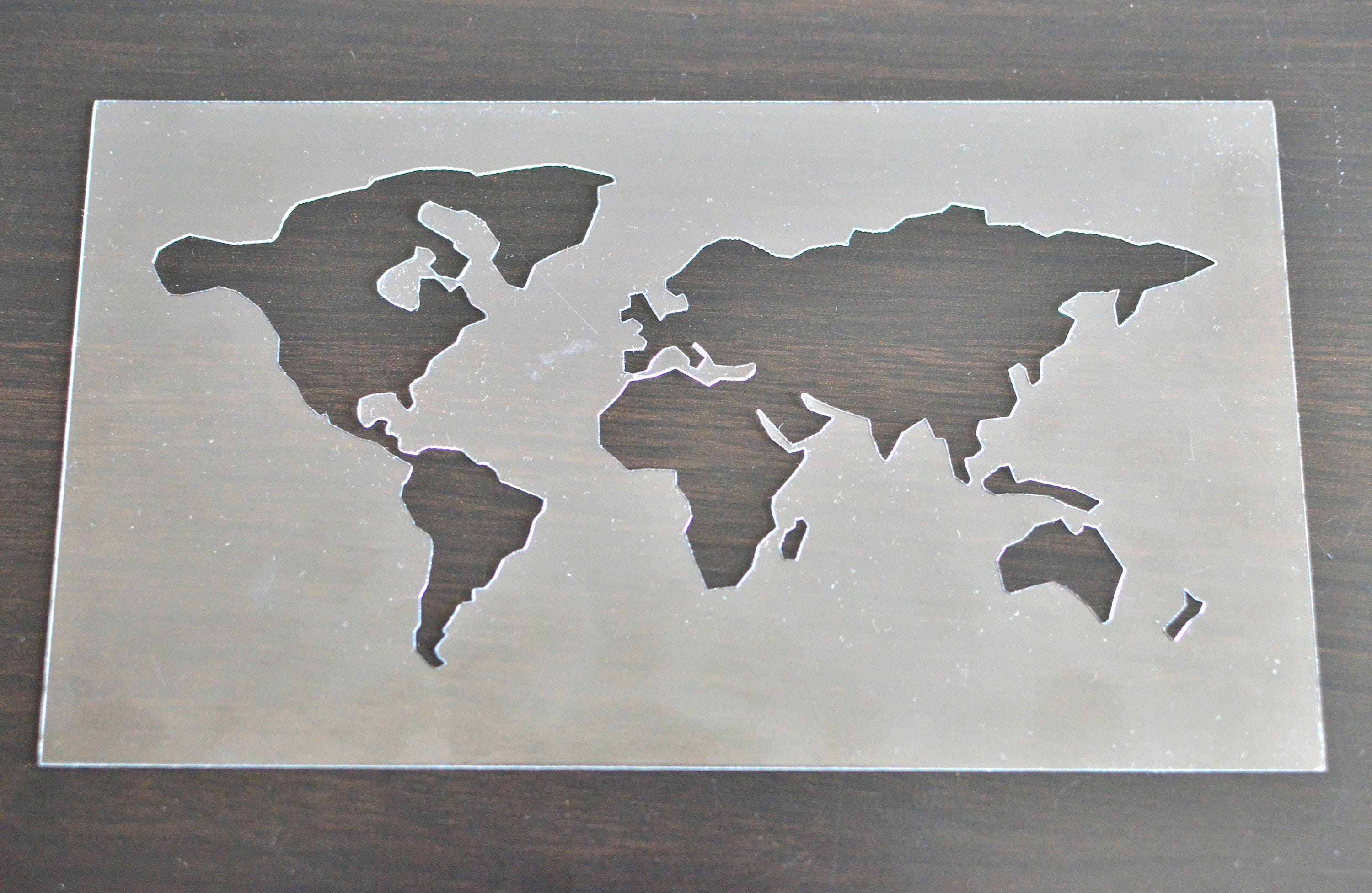 World map stencil for crafts world map small stencil for hand plastic world map stencil for drawing sold by victorsboutique gumiabroncs Images