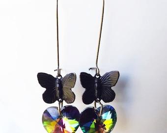 Dark Crystal Butterfly Earrings
