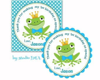 "Frog Customized Birthday Printable Tag- 2.5""- Square or Scallop Tag-Frog with Bowtie & Crown-Personalized Boys Tags-Digital file"