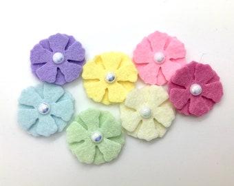 35pcs Felt Flowers, Wool Felt Flowers, Mini Felt Flower Set.
