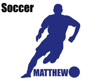 Custom Boy's Soccer Silhouette Wall Graphic FREE SHIPPING