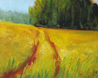 Western Landscape, Original, Oil Painting, 6x6 Canvas, Trail, Road, Country Field, Western Prairie, Gold, Green, Rural, Small, Summertime