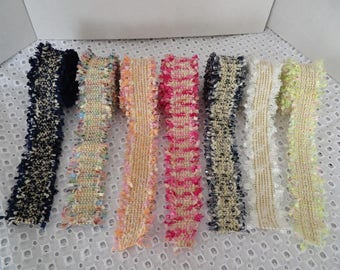 Boucle chanel style textured weave frayed edge trimming, choice of 7 beautiful colours, sold by the metre