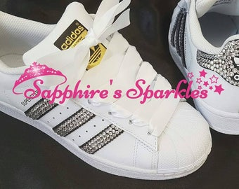 ... official 5686b 770f7 White Sparkly Silver Bling Standard Or Swarovski  Crystals Customised White + Black Adidas ... 40918b7b09